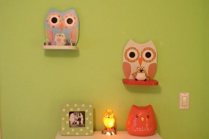 Wooden owl shelf